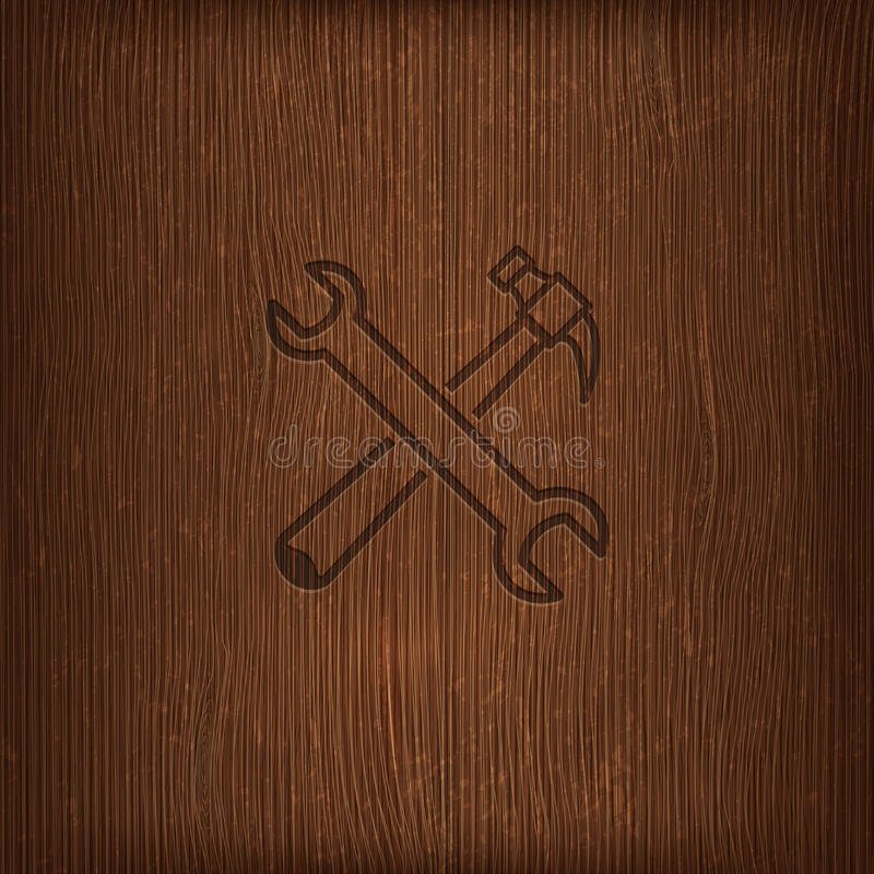 Download Vintage Illustration With A Hammer And A Wrench On Wood Background Stock Illustration - Image: 34813789