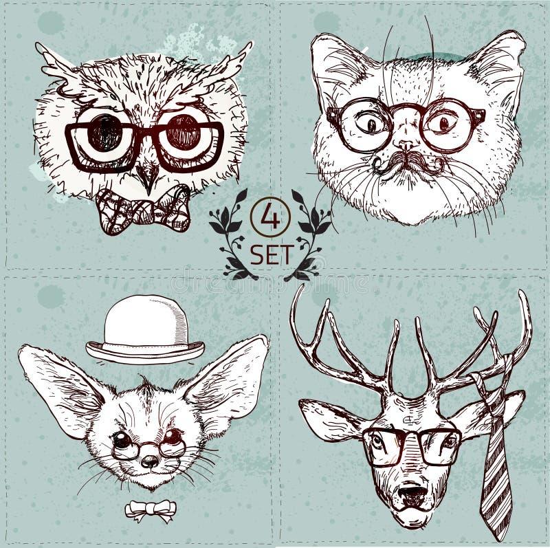 Vintage illustration of hipster animal set with glasses in vector. stock illustration