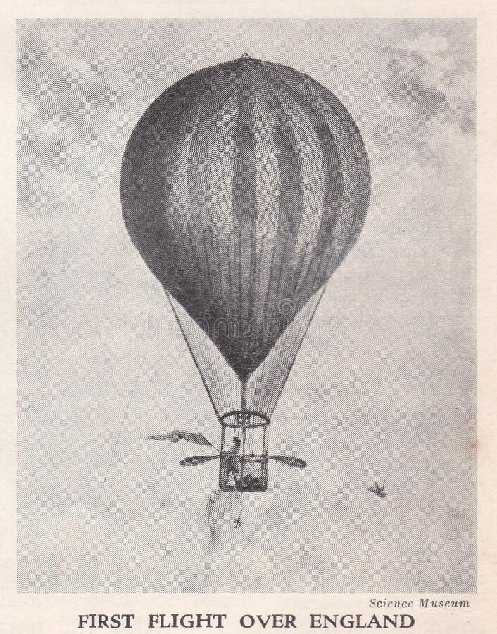 Free Vintage Illustration Of The First Hot-air Balloon Flight Over England 1784. Royalty Free Stock Image - 179009786