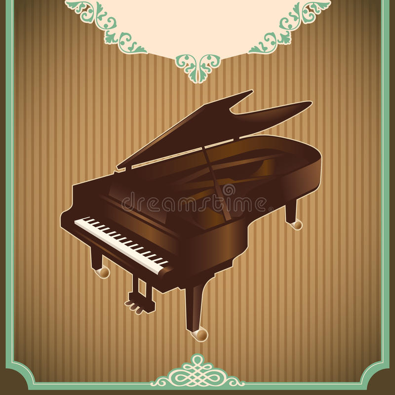 Download Vintage Illustration With Piano. Stock Image - Image: 22555881