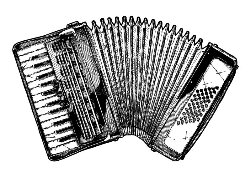 Vintage illustration of piano accordion. Vector hand drawn illustration of Piano accordion in vintage engraved style. Isolated on white background stock illustration