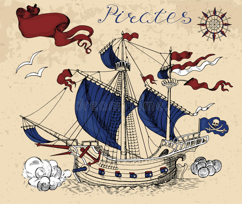 Vintage illustration with pirate ship, wind compass and banner stock illustration