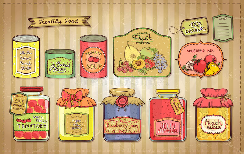 Vintage illustration set of canned goods and tags. Hand drawn vintage style illustration with canned goods set and tags on a paper. Tomato soup, blueberry jam stock illustration