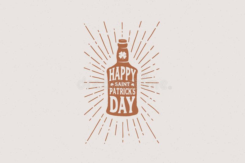 Hands drawn bottle of beer with the inscription Happy St. Patrick`s Day in the rays of light. royalty free illustration