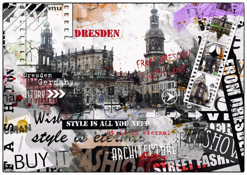 Vintage illustration of views of Dresden royalty free stock images
