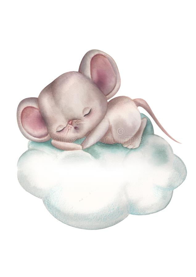 Watercolor illustration of little mouse sleeping on a cloud. Vintage illustration. Watercolor illustration of little mouse sleeping on a cloud vector illustration