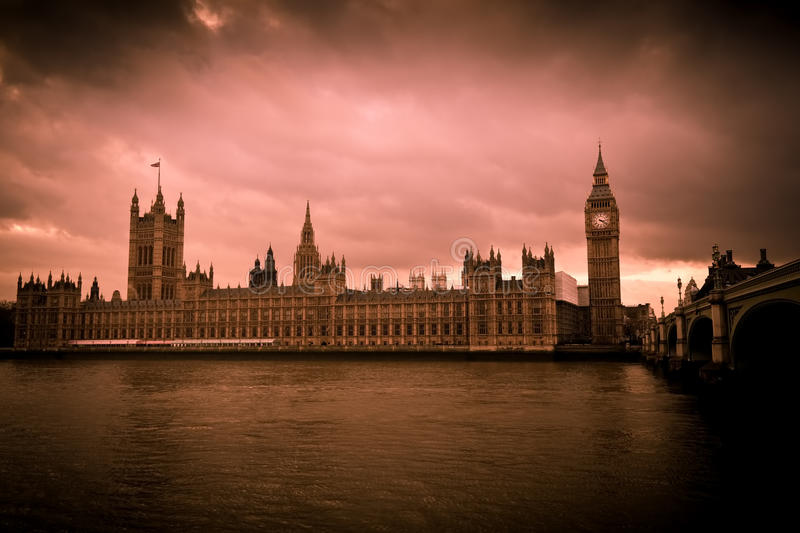 Vintage image of the Big Ben in London stock images