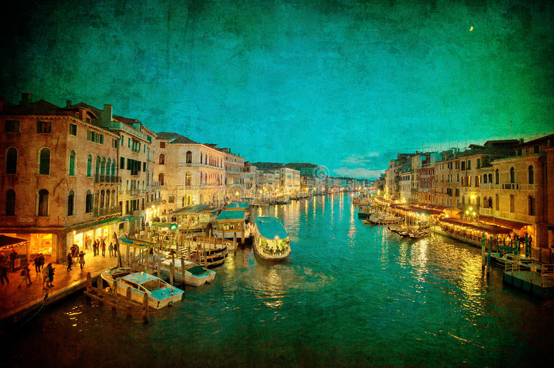 Vintage image of Grand Canal, Venice stock photo