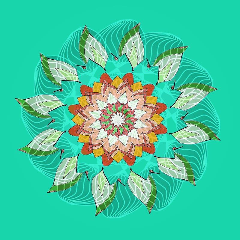 LOTO MANDALA FLOWER. PLAIN AQUAMARINE BACKGROUND. CENTRAL FLOWER IN RED, ORANGE, AQUAMARINE, WHITE AND GREEN royalty free stock images