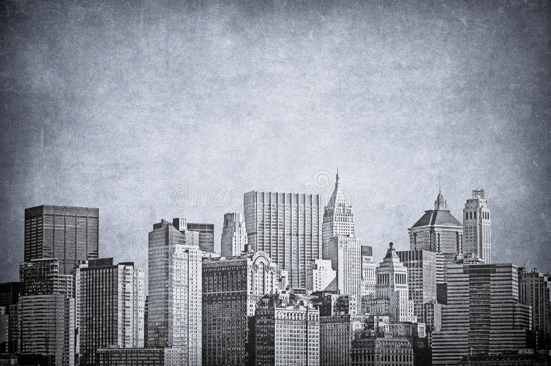 Vintage image of New York City skyline.  stock illustration