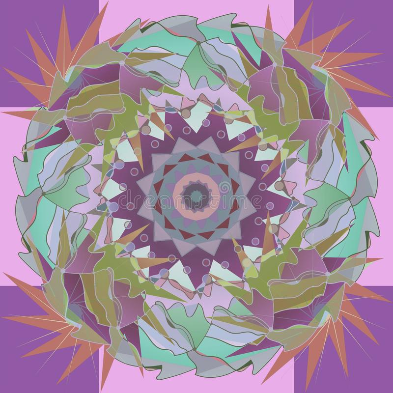 FEAHTERS STARS MANDALA, CENTRAL DESIGN IN PASTEL COLORS PALLET, AQUAMARINE, PURPLE, PINK, OLIVE. ABSTRACT BACKGROUND royalty free illustration