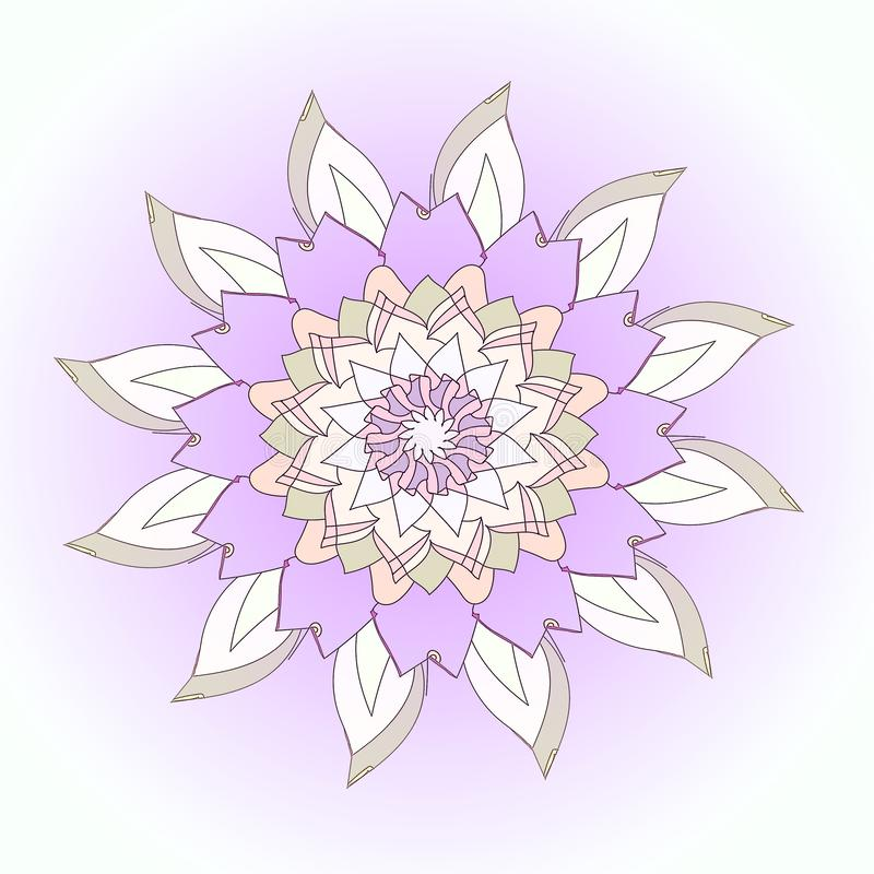 LOTUS FLOWER MANDALA. PLAIN PURPLE BACKGROUND. CENTRAL FLOWER IN WHITE, PURPLE AND GRAY royalty free stock photo