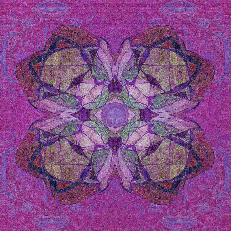 FLORAL MANDALA, CENTRAL CLOVER IN PURPLE, VIOLET, LILAC,ABSTRACT BACKGROUND royalty free illustration