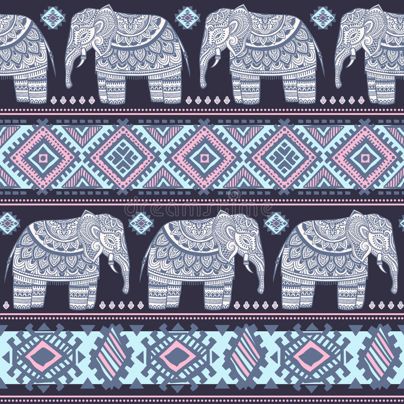 Vintage Indian elephant seamless pattern with tribal ornaments. vector illustration