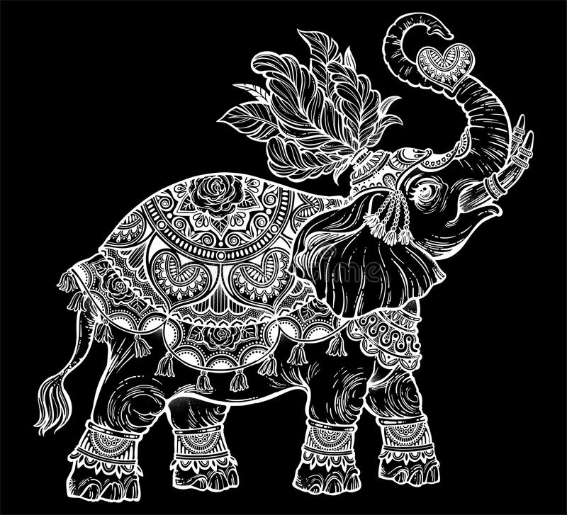 Vintage Indian ethnic boho elephant with heart. vector illustration
