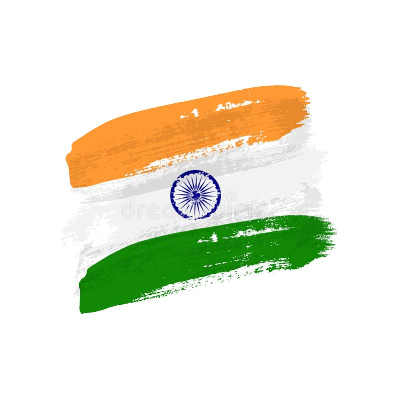 Vintage Indian flag illustration. Vector flag of Republic of India on grunge texture. stock illustration