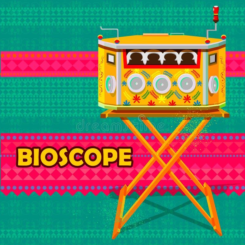 Vintage indien Biscope représentant l'Inde colorée illustration stock