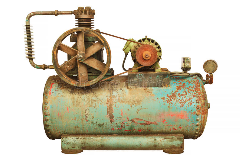 Vintage industrial machine with a green boiler isolated on white royalty free stock images