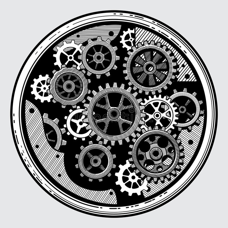 Vintage industrial machinery with gears. Cogwheel transmission in hand drawn old style vector illustration. Equipment with machinery sketch transmission royalty free illustration