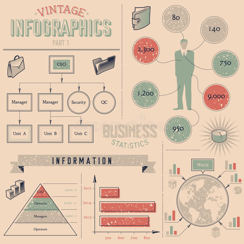 Vintage infographics design elements royalty free illustration