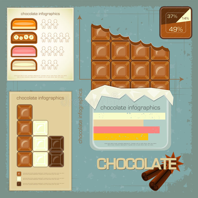 Vintage infographics set - chocolate icons. And elements for presentation and graph - illustration vector illustration