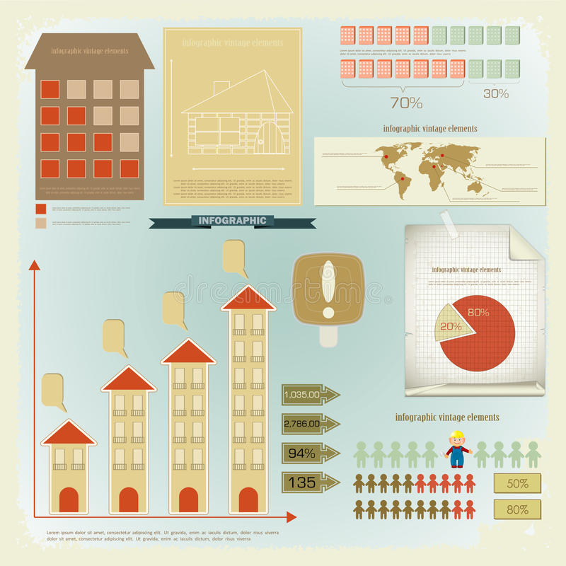 Download Vintage Infographics Set - House Construction Stock Vector - Image: 24035914