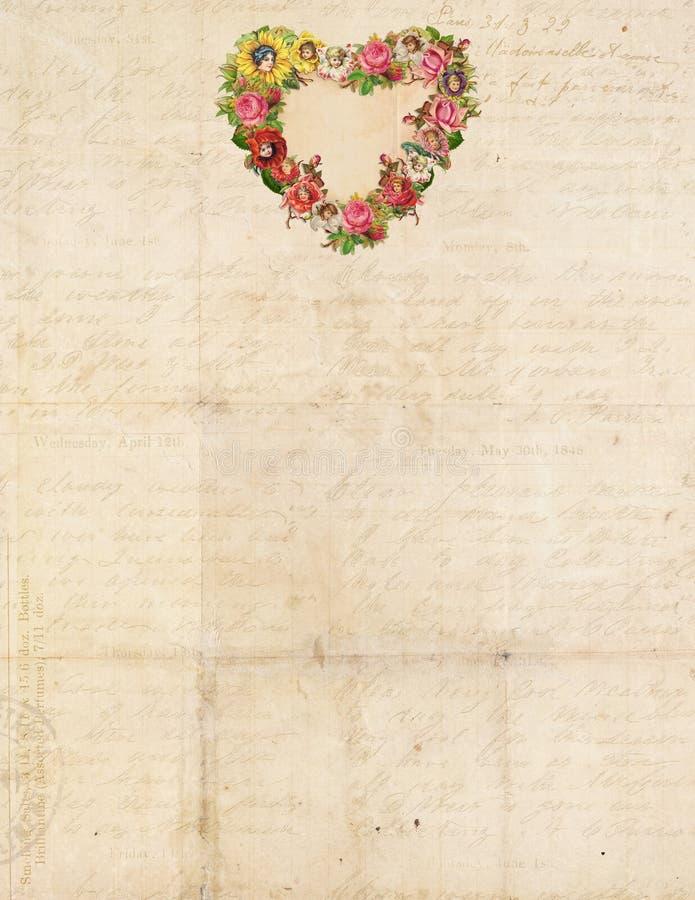 Vintage inmóvil con el corazón de la flor ilustración del vector