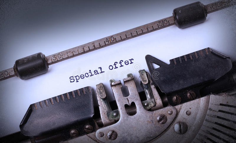 Vintage inscription made by old typewriter. Special offer royalty free stock photography