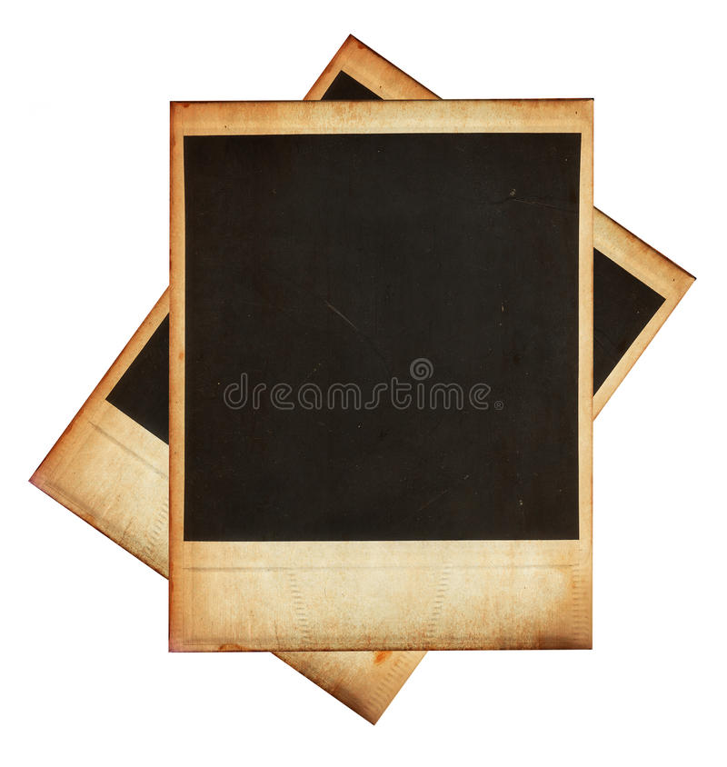 Vintage instant photo frames isolated on white. This high quality image represents Vintage instant photo frames isolated on white stock image