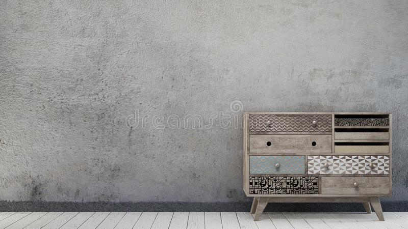 Vintage interior with aged wall. And scandinavian chest of drawer stock images