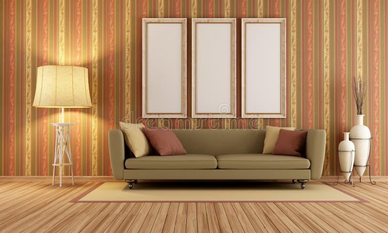 Download Vintage Interior With Elegant Sofa Stock Illustration - Illustration of horizontal, lounge: 32075107