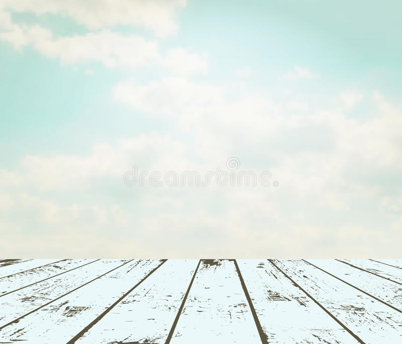 Vintage interior. Grunge wooden plank against sky. EPS 10 vector illustration. Used meshes and transparency layers stock illustration