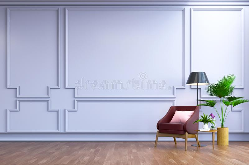 Vintage interior room ,, Contemporary furniture,luxury decor, berry leather sofa and black lamp on wood flooring and blur light. Frame wall /3d render vector illustration