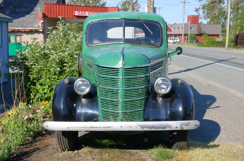 Vintage 1940 International Harvester Truck. A vintage 1940 International Harvester truck parked in the small farming community of Rosedale, BC, Canada on June 17 stock image