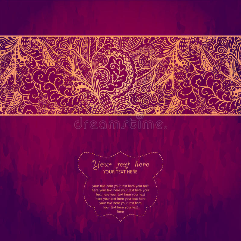 Vintage invitation card on grunge background with lace ornament. royalty free illustration