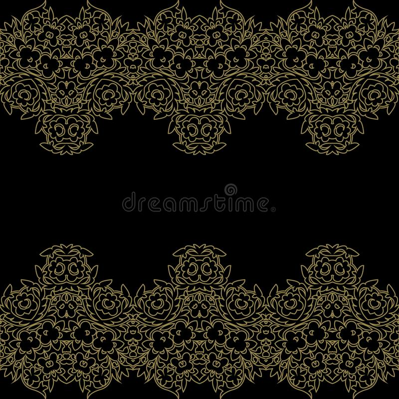 Vintage invitation card with lace flower pattern. Vintage invitation card with lace flower pattern on dark background vector illustration