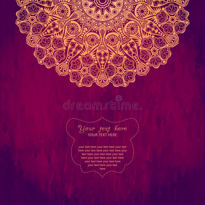 Vintage invitation card with lace ornament. Template frame desig royalty free illustration