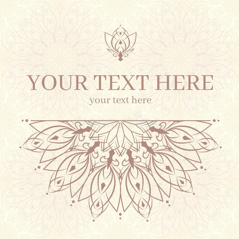 Vintage invitation card with mandala ornament. Template frame design for card. Can be used for packaging, invitations, Valentine`s Day decoration, bag template stock illustration