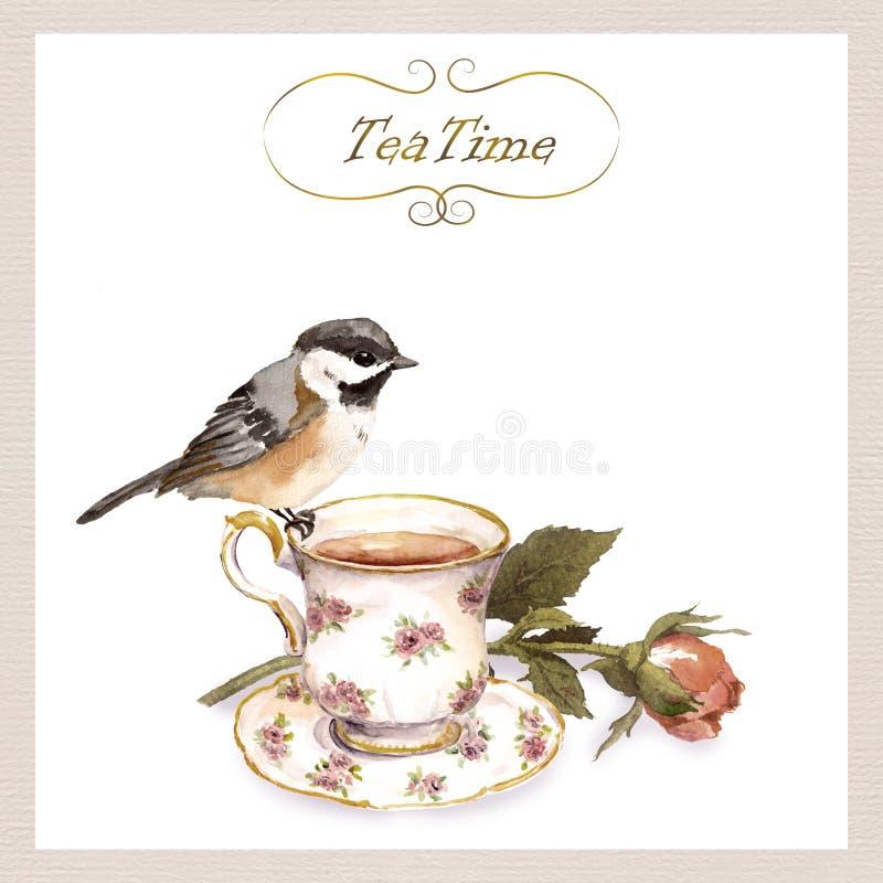 Vintage invitation card with retro design - pretty watercolor bird, tea cup, rose flower. Vintage invitation card with retro design - pretty watercolor bird, tea stock illustration
