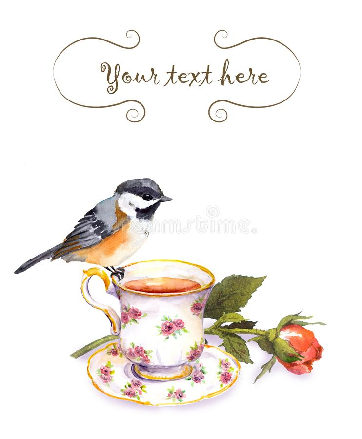 Vintage invitation card with retro design - watercolor bird, tea cup and rose flower. Isolated on white royalty free illustration
