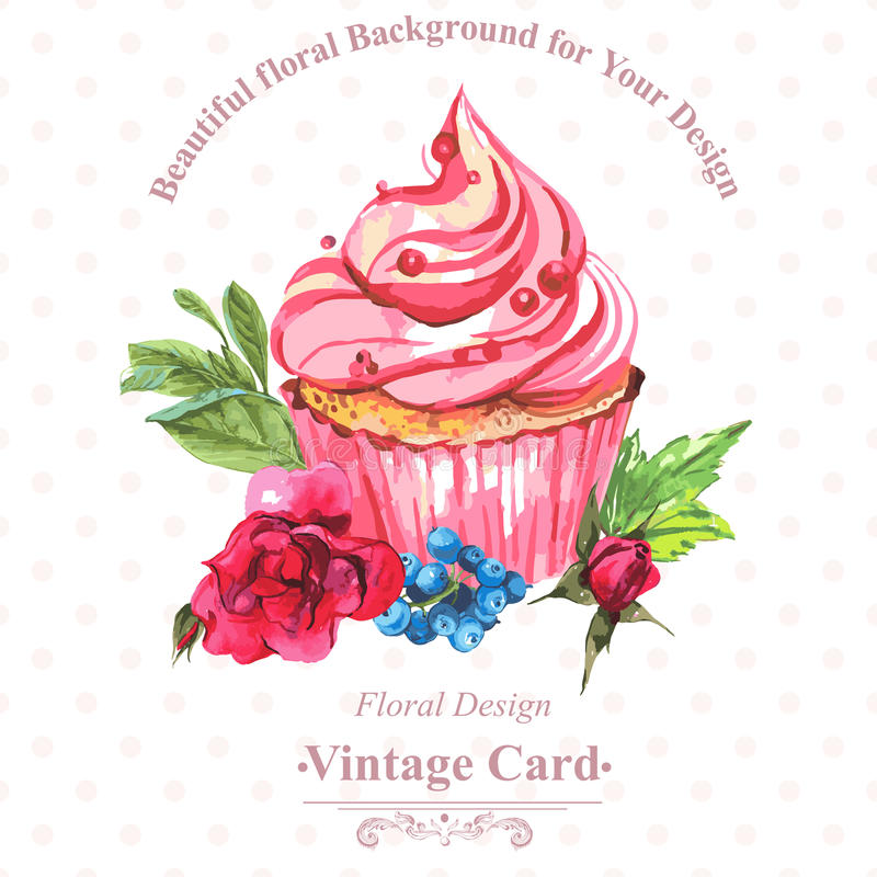 Vintage invitation card watercolor cupcakes and vector illustration