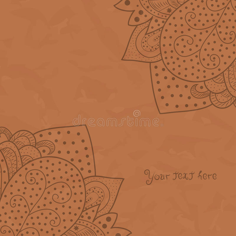 Vintage invitation corners on brown grunge background with lace ornament, template frame design for card with texture of crumpled. Paper, eps10 stock illustration