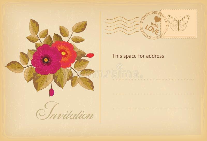 Vintage invitation postcard stock illustration