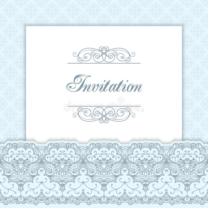 Vintage invitation template. With lacy borders. Vector illustration stock illustration