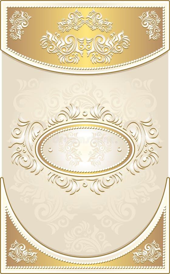 Vintage Invitation or Wedding frame in light gold royalty free illustration