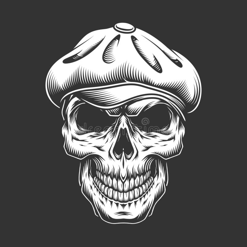 Vintage irish skull in tweed cap. In monochrome style isolated vector illustration royalty free illustration