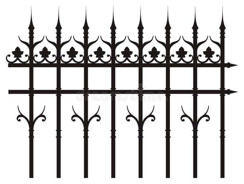 Vintage iron fence stock illustration
