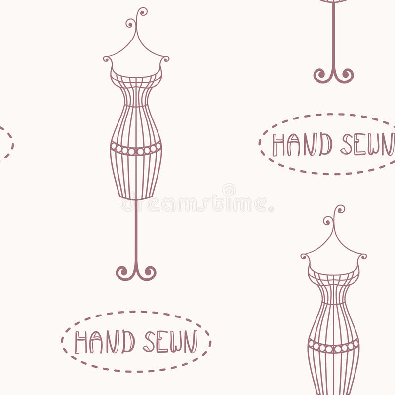 Vintage iron mannequin seamless pattern with inscription hand sewn stock illustration