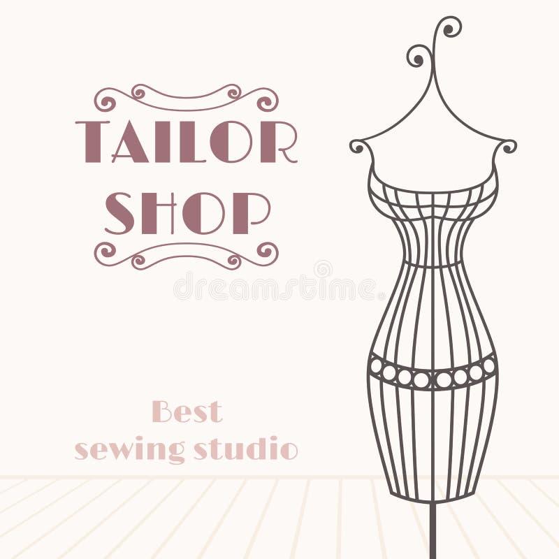 Vintage iron mannequin. Tailor shop background royalty free illustration