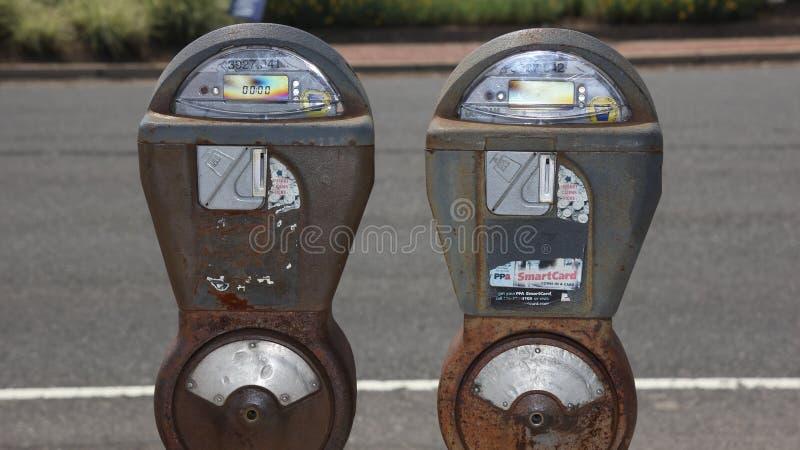 Vintage iron parking meter. At Philadelphia, USA stock images